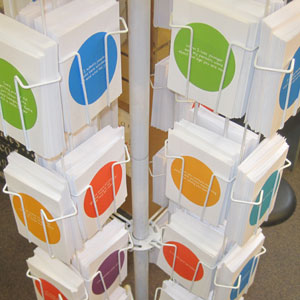 Zippernut Press Greeting Cards in Rack